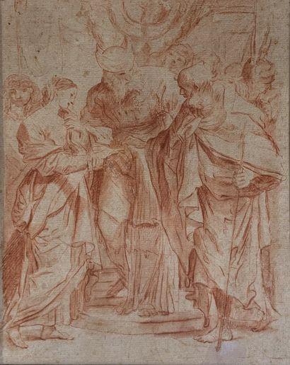 Ecole romaine du XVIIIe siècle  Scène biblique....