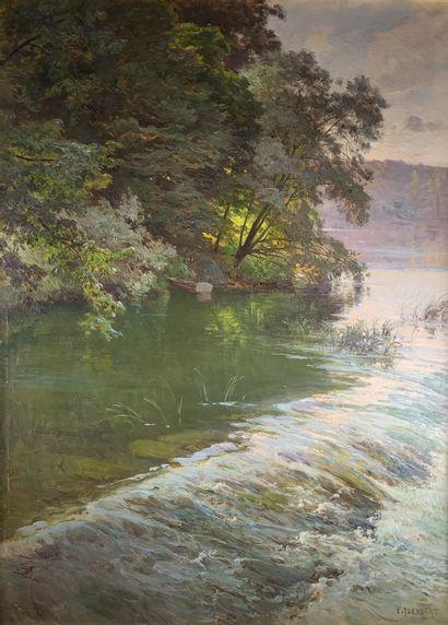 Emile ISENBART (1846-1921)  La cascade.  Huile...