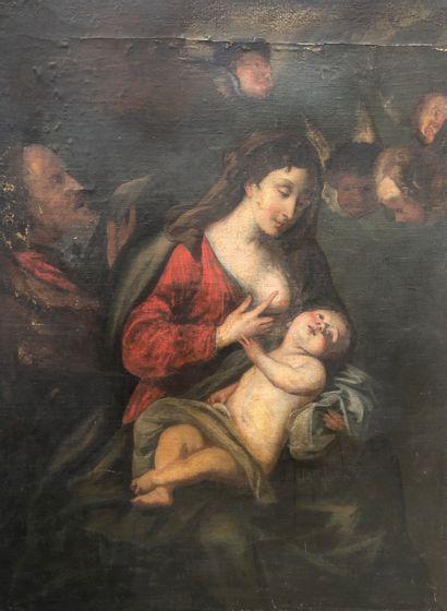 Ecole française du XVIIe siècle  Vierge à...