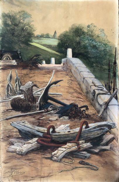 Georges CLAIRIN (1843-1919)  Agrès de marine....