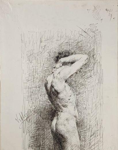 José VILLEGAS (1848-1921)  Etude de nu.  Dessin...