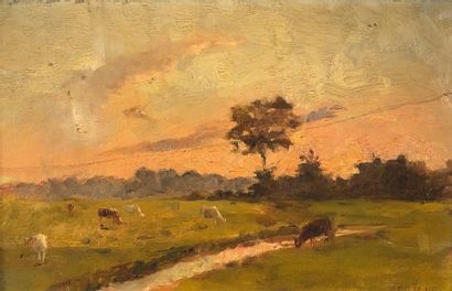 DEBAENE (XIXe siècle)  Vaches au ruisseau....