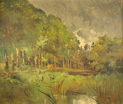 A. VAZEILLE (XIXe siècle)  Les étangs.  Huile...