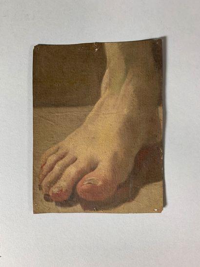 Ecole du XIXe siècle  Etude de pied.  Gouache...