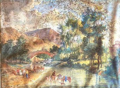 Ecole suisse (?) du XVIIIe siècle  Scène...