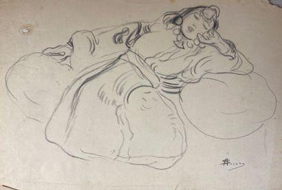 André SURÉDA (1872-1930)  Odalisque.  Crayon...