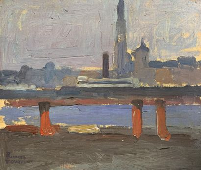 Charles FOUQUERAY (1869-1956)  Sur les quais,...