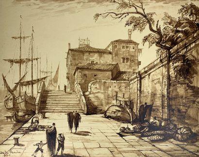 André MAIRE (1898-1984)  Petit pont à Venise,...
