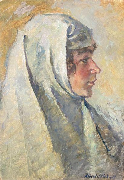 Albert SALLAK (1883-1974)  Femme au voile...