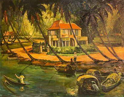 Ecole du XIXe siècle  La maison au bord du...