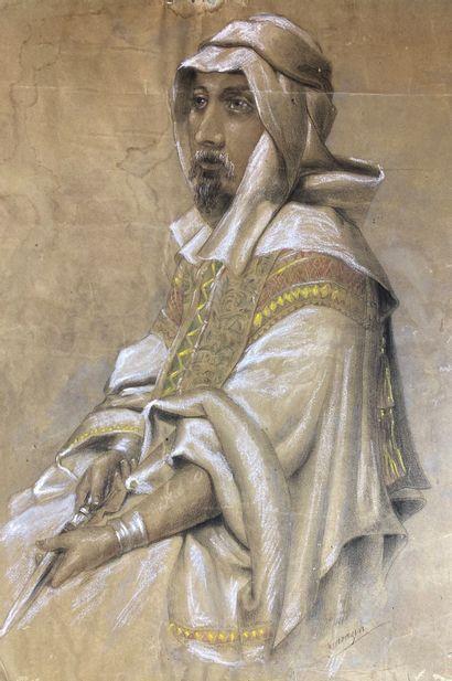 Ecole orientaliste du XIXe siècle  Chef arabe....