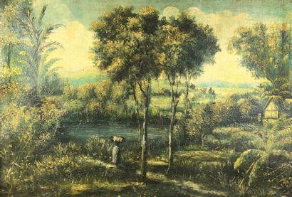 RAVAMONDO (XIXe-XXe siècle)  Paysage malgache,...