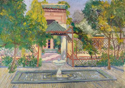 Edmond DELESCLUZE (1905-1993)  Villa marocaine,...