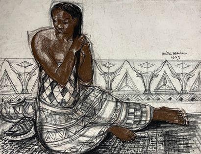 André MAIRE (1898-1984)  Malgache se coiffant,...