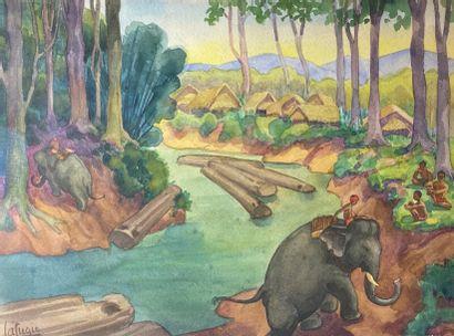 Léa LAFUGIE (1890-1972)  Travail à dos d'éléphant....