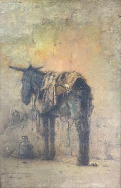 Emile VERBRUGGE (1856-1936).  L'âne et le...