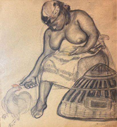 Jean BOUCHAUD (1891-1977)  Africaine et poule...