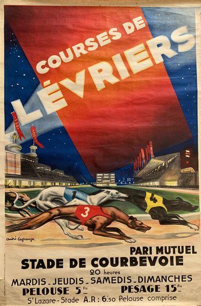 André LAGRANGE (1889-1958)  Course de Lévriers,...