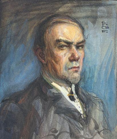 Charles FOUQUERAY (1869-1956)  Autoportrait,...