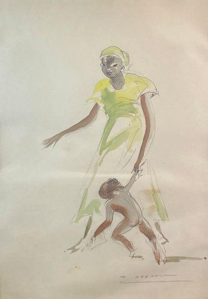 Paul DAXHELET (1905-1993)  Maternité.  Aquarelle...