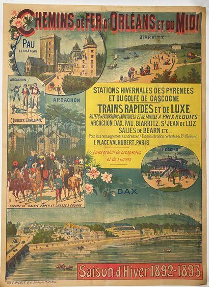 """Chemins de fer d'Orléans et du midi, saison d'hiver 1892-1893"""".  Affiche lithographique..."""