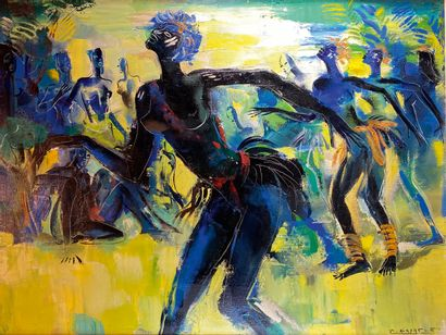 Paul DAXHELET (1905-1993)  Danseuses africaines....