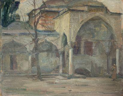 Charles FOUQUERAY (1869-1956)  Dans la cour...