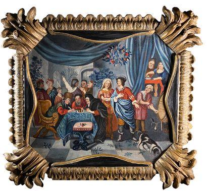 Ecole sud américaine du XVIIIe siècle  Le partage de la dot.  Huile sur toile.  57...