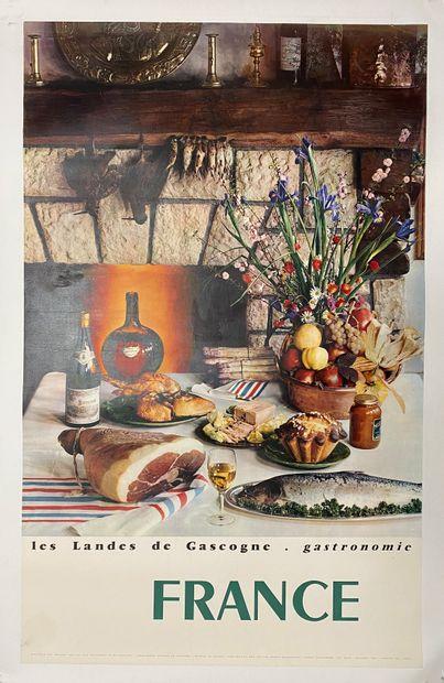 """""""France, Les landes de Gascogne, Gastronomie"""".  Affiche offset par DRAEGER pour..."""