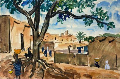Elisabeth FAURE (1906-1964)  Vue de Bamako....