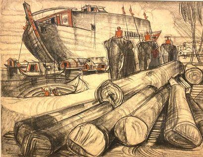 André MAIRE (1898-1984)  Vue de port avec...