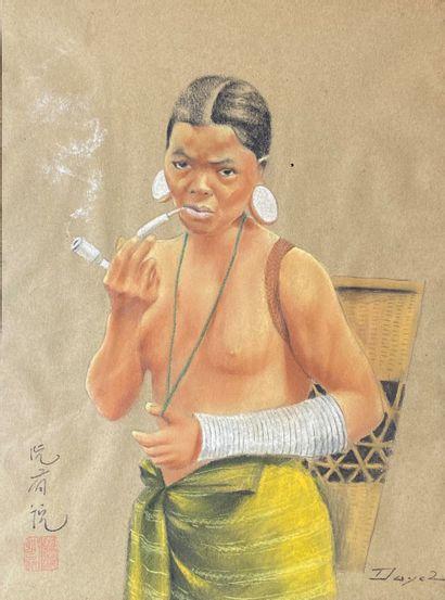 DAYEZ (XXe siècle)  Fumeuse de pipe.  Technique...