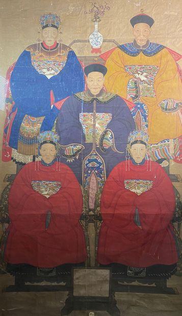 Ecole chinoise du début du XIXe siècle  Portrait...