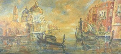 MORELLI (XXe siècle)  Vue de Venise.  Huile...