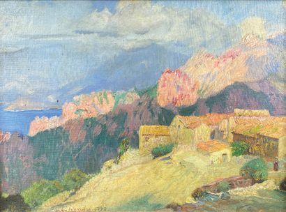 André LAGRANGE (1889-1958)  Vue de Corse,...
