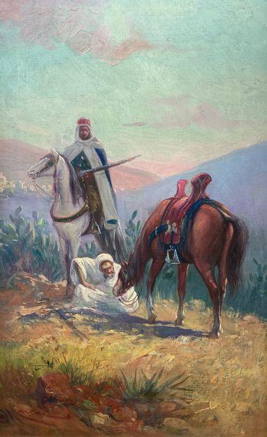 D.MARINA (1861-1938)  La halte des cavaliers...