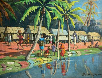 Ecole malgache  Village animé en bord de...
