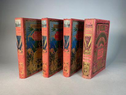Jules VERNE, Voyages extraordinaires, quatre volumes collection Hetzel, couverture...