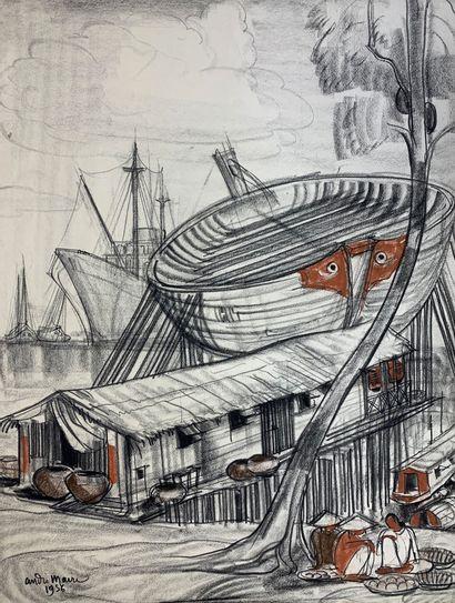 André MAIRE (1898-1984)  Le port de Saïgon,...
