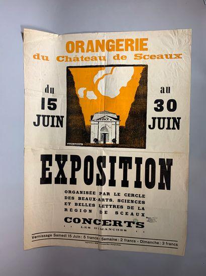 """André LAGRANGE (1889-1958)  """"Miramar, Cannes"""".  Lithographie en couleurs signée..."""