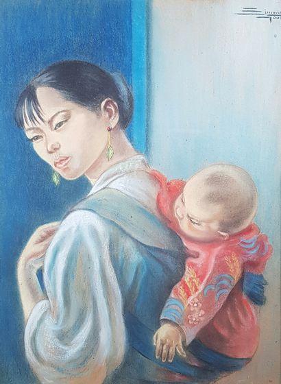 Simone GOUZE (XIXe-XXe siècles)  Femme asiatique...