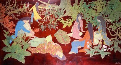 Thanh LEY (XXe siècle)  Jeunes femmes au...