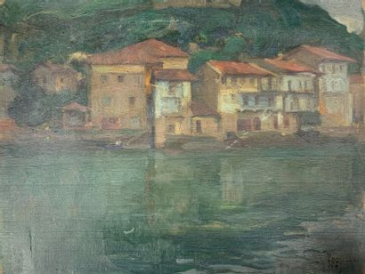Charles FOUQUERAY (1869-1956)  Un village...