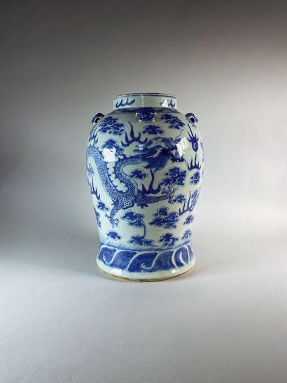 Grand vase en porcelaine à décor bleu et...
