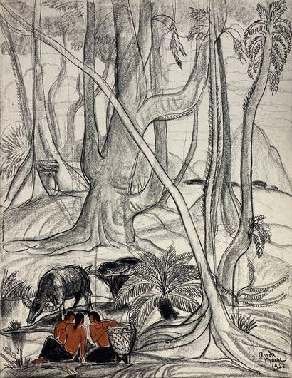 André MAIRE (1898-1984)  Moïs et leurs buffles,...