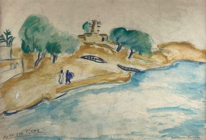 Monique CRAS (1910-2007)  Les bords du fleuve....