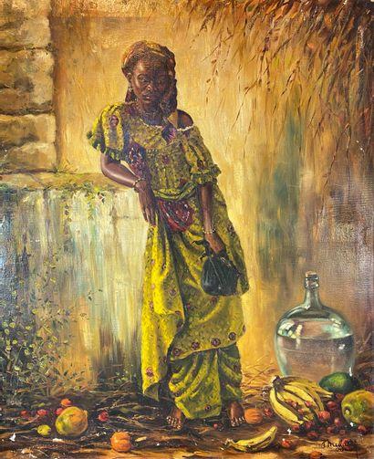 Jean MULDERS (né en 1913).  Africaine accoudée,...