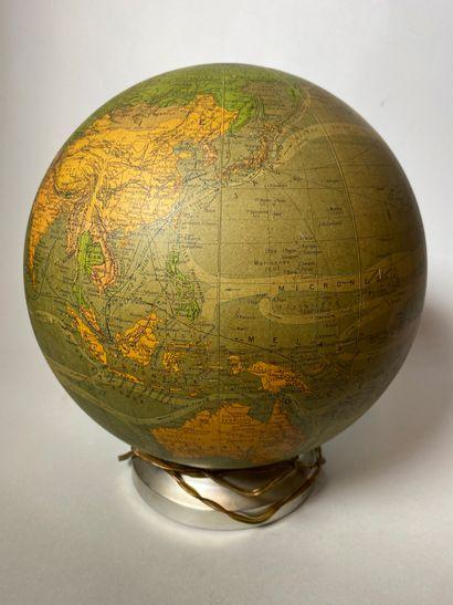 PERRINA  Globe terrestre lumineux en verre...