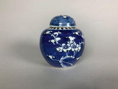 Petit pot sphérique couvert, en porcelaine...