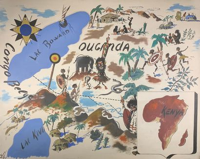 FERRO (?)  L'Ouganda, 1953.  Huile sur panneau...